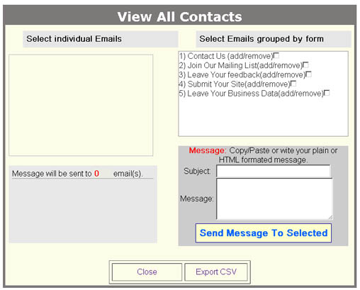 Contact/Mass mailing screen